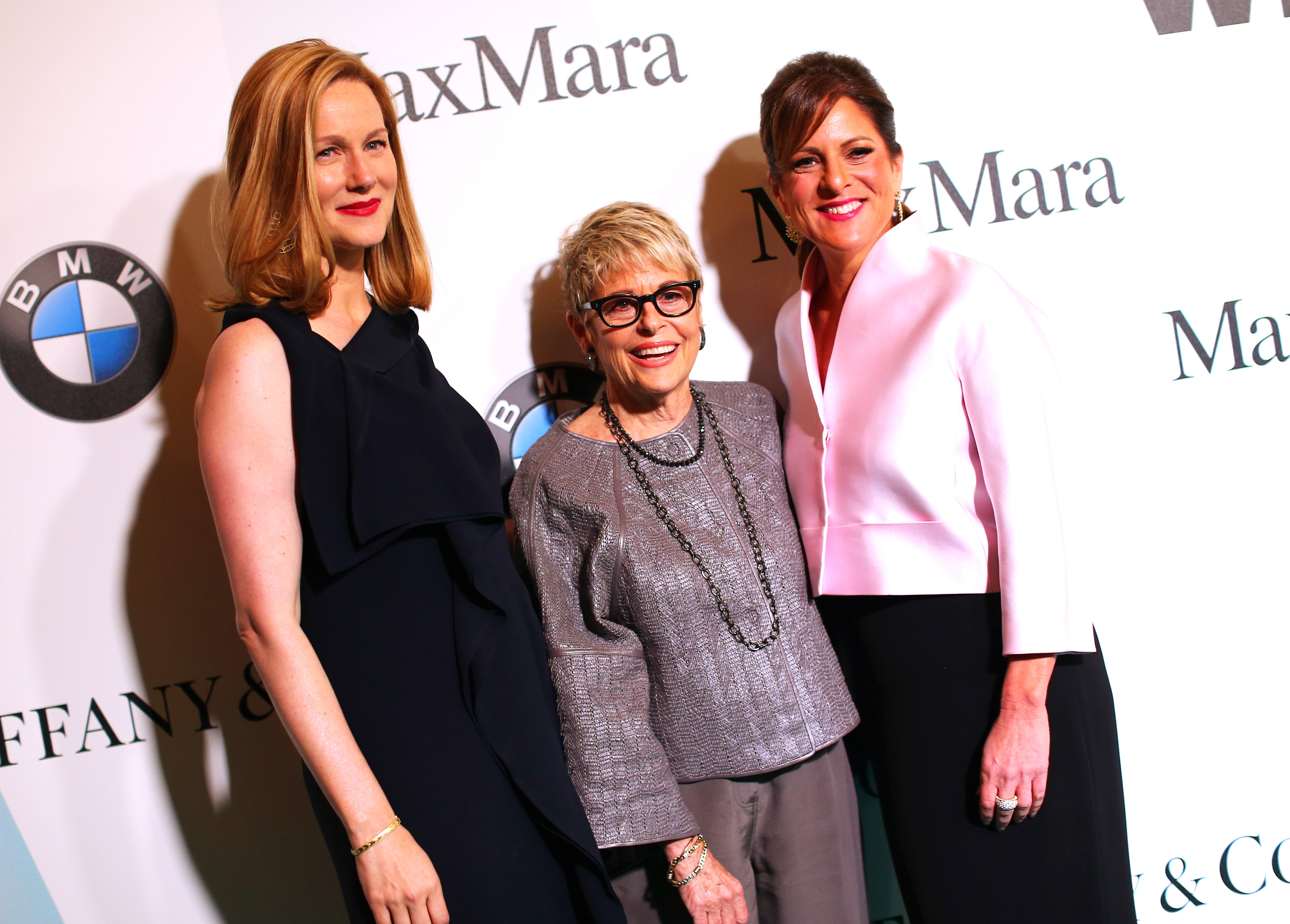 CENTURY CITY, CA - JUNE 16:  (L-R) Actress Laura Linney, honoree Toni Howard and President of Women In Film, Los Angeles, Cathy Schulman attend the Women In Film 2015 Crystal + Lucy Awards Presented by Max Mara, BMW of North America, and Tiffany & Co. at the Hyatt Regency Century Plaza on June 16, 2015 in Century City, California.  (Photo by Mark Davis/Getty Images for Women in Film)