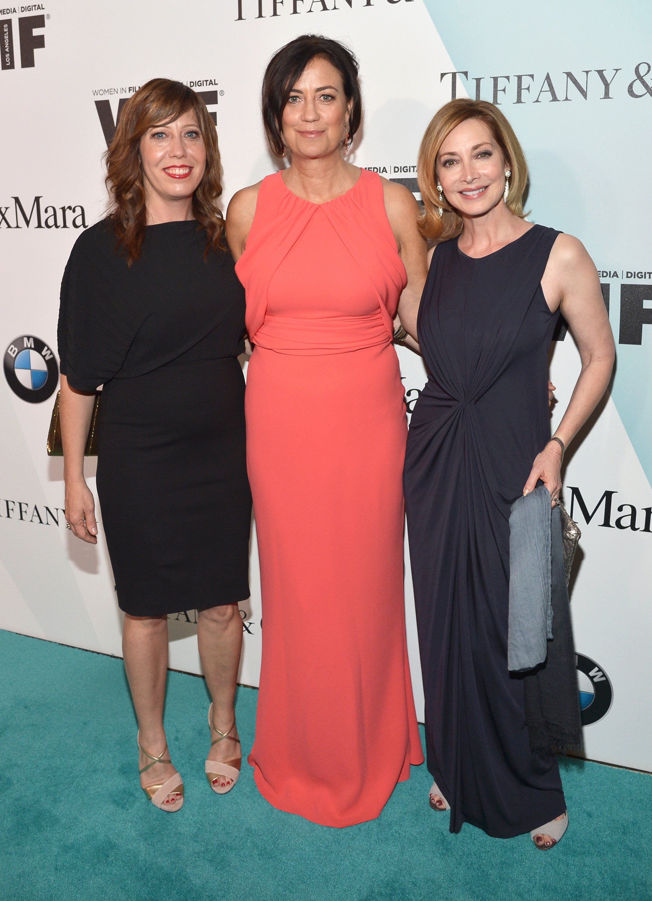 CENTURY CITY, CA - JUNE 16: (L-R) Executive Director of Women In Film, LA Kirsten Schaffer,  president emeritus, Women In Film LA and event co-chair Jane Fleming and actress Sharon Lawrence attend the Women In Film 2015 Crystal + Lucy Awards Presented by Max Mara, BMW of North America, and Tiffany & Co. at the Hyatt Regency Century Plaza on June 16, 2015 in Century City, California.  (Photo by Charley Gallay/Getty Images for Women In Film)
