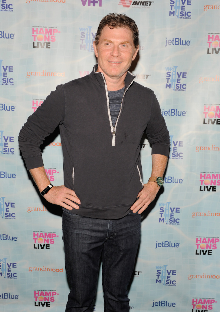 "SAGAPONACK, NY - AUGUST 08:  Bobby Flay at VH1 Save The Music Foundation's ""Hamptons Live"" benefit hosted by Billy and Julie Macklowe at a private estate in Sagaponack, NY on August 8, 2015.  (Photo by Matthew Eisman/Getty Images for Vh1 Save The Music)"