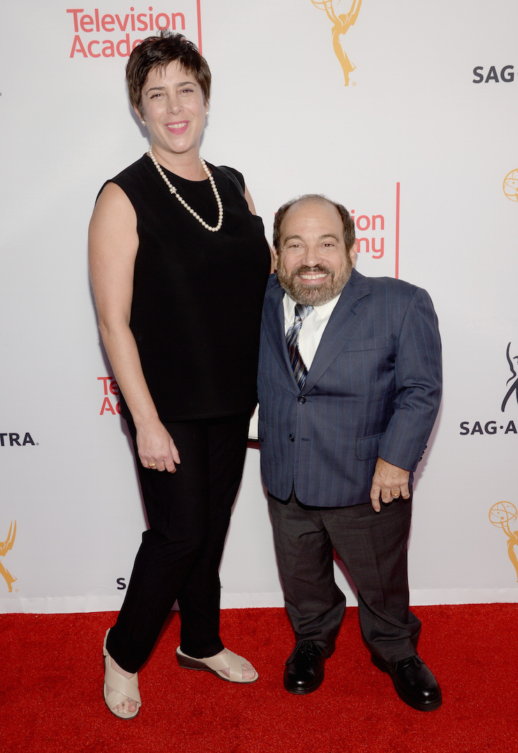 Amy Buchwald, left, and Danny Woodburn seen at the Television Academy's 67th Emmy Awards Dynamic and Diverse Nominee Reception at the Montage Beverly Hills on Thursday, Aug. 27, 2015, in Beverly Hills, Calif. (Photo by Phil Mccarten/Invision for the Television Academy/AP Images)