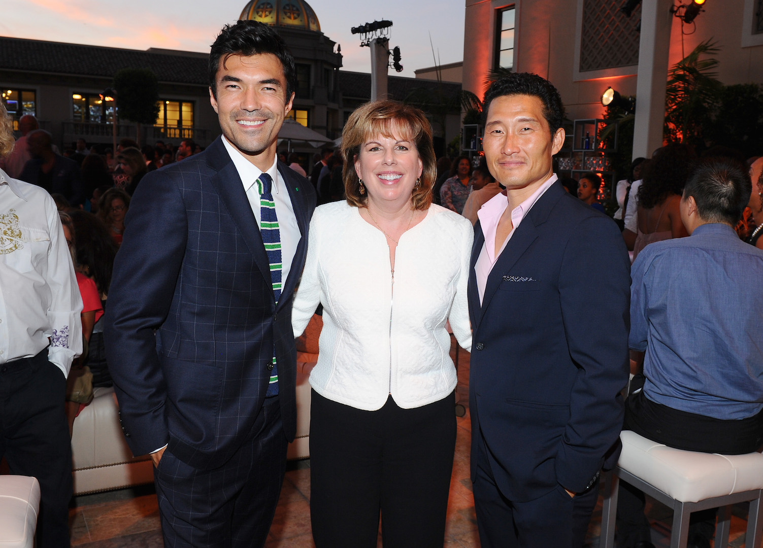 Ian Anthony Dale, from left, Ilyanne Morden Kichaven, executive director of SAG/AFTRA and Daniel Dae Kim,  seen at the Television Academy's 67th Emmy Awards Dynamic and Diverse Nominee Reception at the Montage Beverly Hills on Thursday, Aug. 27, 2015, in Beverly Hills, Calif. (Photo by Vince Bucci/Invision for the Television Academy/AP Images)