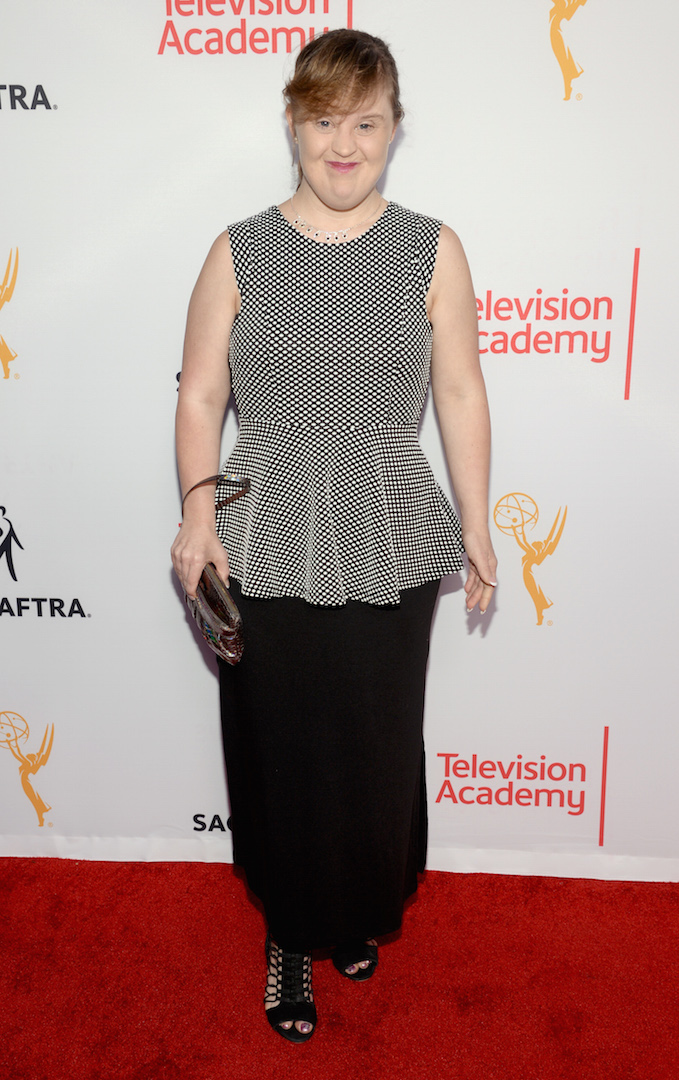 Jamie Brewer seen at the Television Academy's 67th Emmy Awards Dynamic and Diverse Nominee Reception at the Montage Beverly Hills on Thursday, Aug. 27, 2015, in Beverly Hills, Calif. (Photo by Phil Mccarten/Invision for the Television Academy/AP Images)