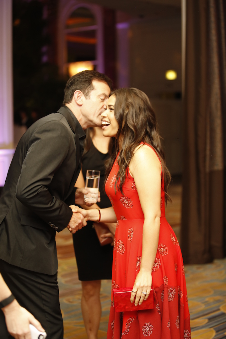 Beverly Hills, CA. August 13, 2015 Hollywood Foreign Press Association presents annual Grants Dinner Thursday night from the Beverly Wilshire Hotel.  The HFPA will present more than $2 million in donations to non-profit entertainment-related organizations and scholarship programs.  Pictured: Jason Isaacs and America Ferrera.