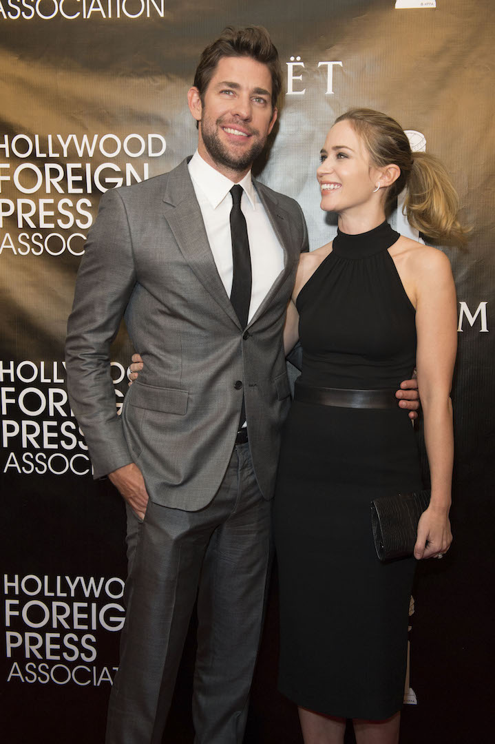 Beverly Hills, CA. August 13, 2015 Hollywood Foreign Press Association presents annual Grants Dinner Thursday night from the Beverly Wilshire Hotel.  The HFPA will present more than $2 million in donations to non-profit entertainment-related organizations and scholarship programs.  Pictured: John Krasinsky and Emily Blunt arrive on the red carpet.