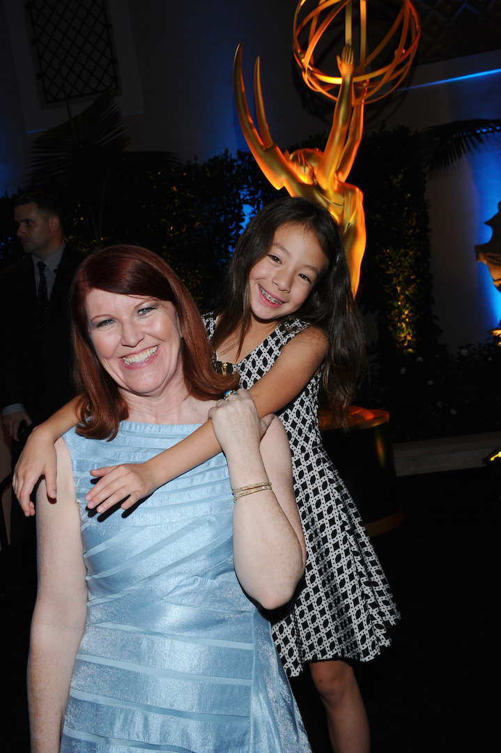 Kate Flannery, left, and Aubrey Anderson-Emmons seen at the Television Academy's 67th Emmy Awards Dynamic and Diverse Nominee Reception at the Montage Beverly Hills on Thursday, Aug. 27, 2015, in Beverly Hills, Calif. (Photo by Vince Bucci/Invision for the Television Academy/AP Images)