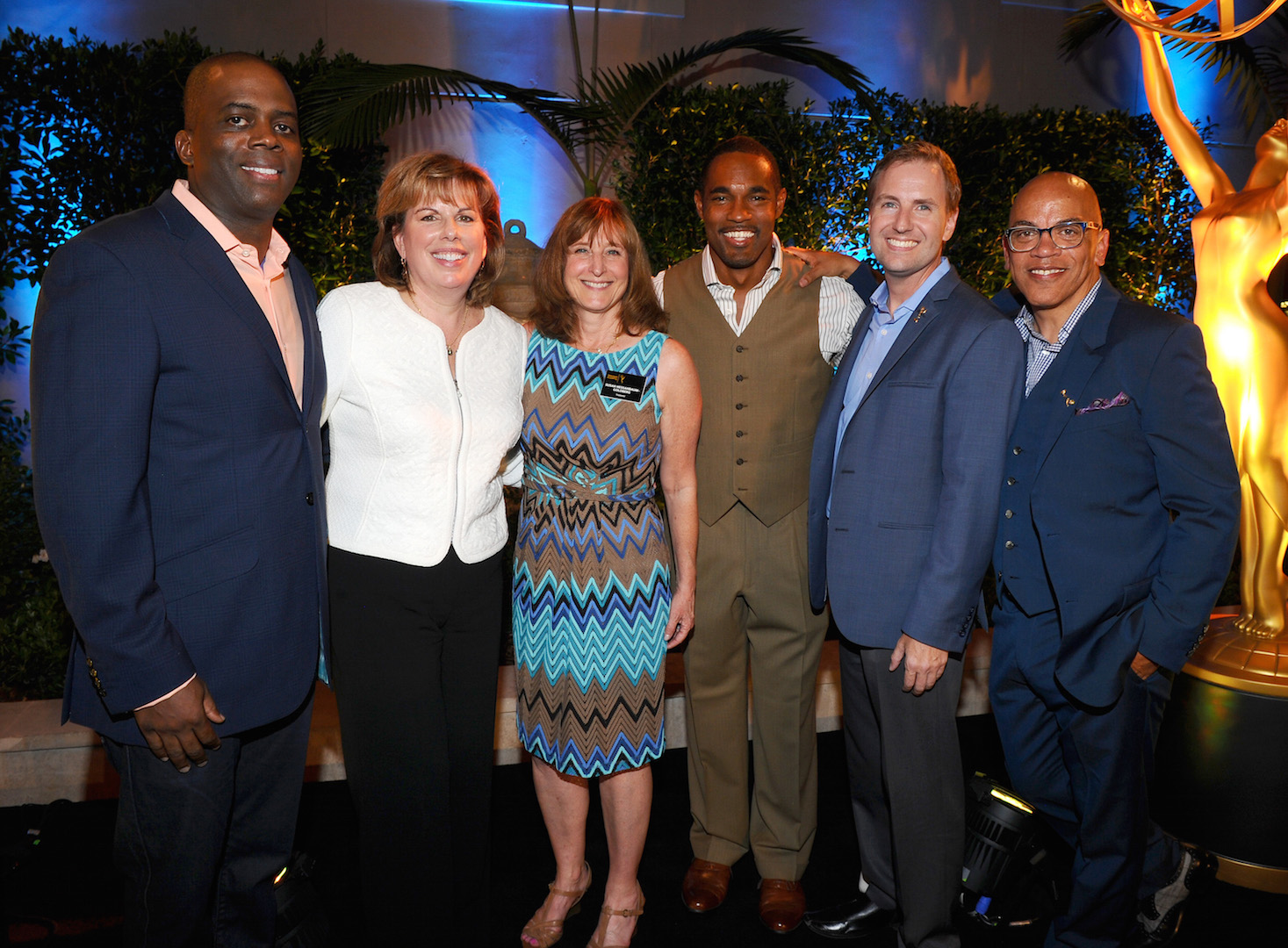 Marcelino Ford-Livene, from left, Ilyanne Morden Kichaven, executive director of SAG-AFTRA, Susan Nessanbaum-Goldberg, Jason George, Maury McIntyre, President and COO, the Television Academy and Rickey Minor seen at the Television Academy's 67th Emmy Awards Dynamic and Diverse Nominee Reception at the Montage Beverly Hills on Thursday, Aug. 27, 2015, in Beverly Hills, Calif. (Photo by Vince Bucci/Invision for the Television Academy/AP Images)