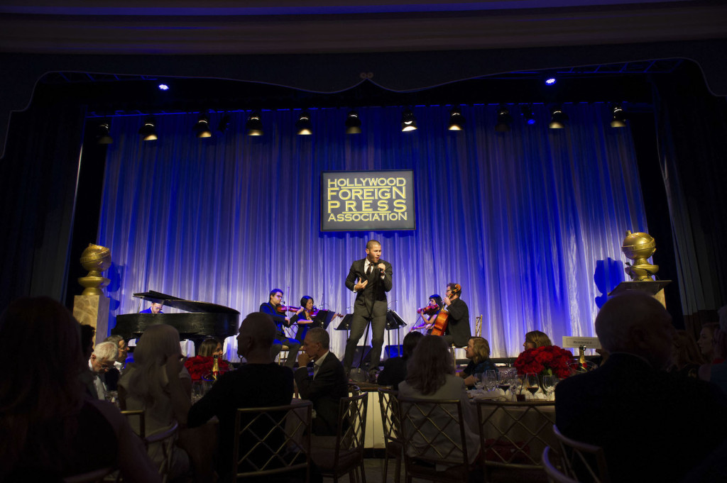Beverly Hills, CA. August 13, 2015 Hollywood Foreign Press Association presents annual Grants Dinner Thursday night from the Beverly Wilshire Hotel. The HFPA will present more than $2 million in donations to non-profit entertainment-related organizations and scholarship programs. Pictured: Nick Jonas performing.