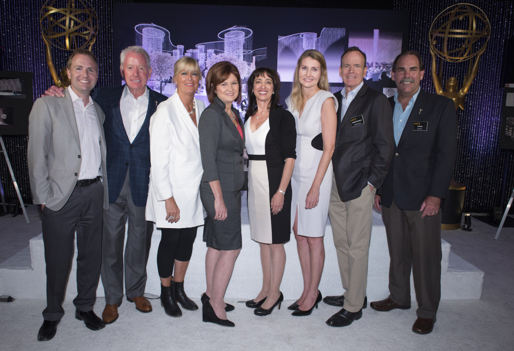 Governors Ball Committee members Maury McIntyre, Russ Patrick, Barbara Cassel, event producer Cheryl Cecchetto, Geriann McIntosh, Tammy Glover, Jonathan Murray and Edward Fassl are seen at 67th Emmy Awards Governors Ball Preview at the Los Angeles Convention Center on Wednesday, September 9, 2015, in Los Angeles. (Photo by Phil McCarten/Invision for Academy of Television Arts and Sciences/AP Images)