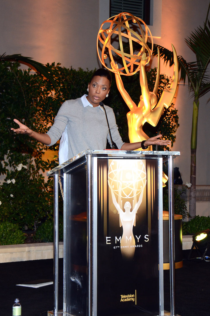 Aisha Tyler speaks at the Television Academy's 67th Emmy IMPG Celebration of Excellence at the Montage Beverly Hills on Wednesday, Sept. 9, 2015 in Beverly Hills, Calif. (Photo by Tonya Wise/Invision for the Television Academy/AP Images)