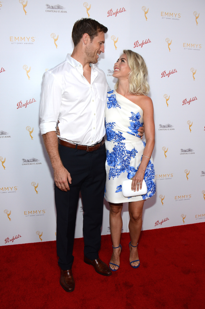 Brooks Laich and Julianne Hough arrive at the Television Academy's 67th Primetime Emmy Choreographers Nominee Reception at the Montage Beverly Hills on Sunday, Aug. 30, 2015 in Beverly Hills, Calif. (Photo by Tonya Wise/Invision for the Television Academy/AP Images)