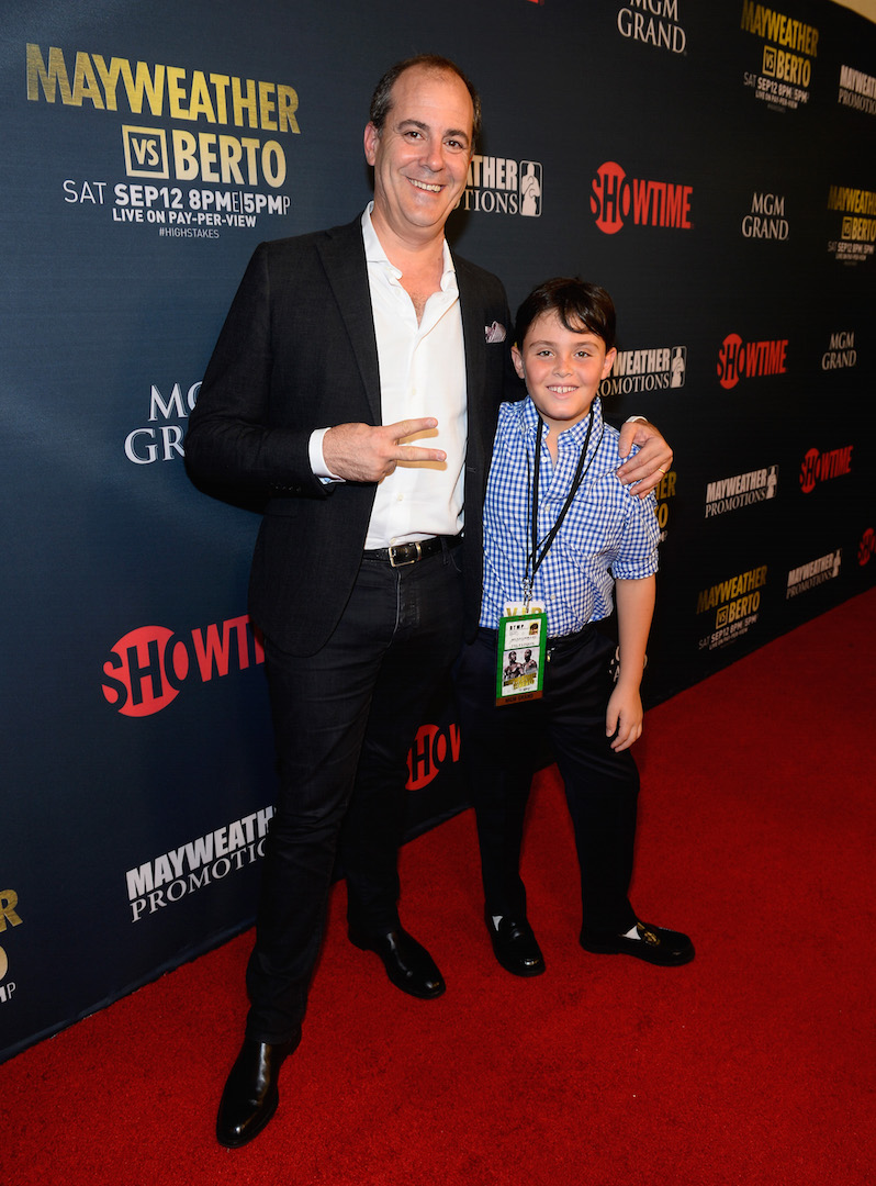 LAS VEGAS, NV - SEPTEMBER 12:  President of Showtime Networks Inc. David Nevins (L) and his son Jesse Nevins arrive at the VIP Pre-Fight Party for 'High Stakes: Mayweather v. Berto' presented by Showtime at the MGM Grand Garden Arena on September 12, 2015 in Las Vegas, Nevada.  (Photo by Bryan Steffy/Getty Images for Showtime) *** Local Caption *** David Nevins; Jesse Nevins