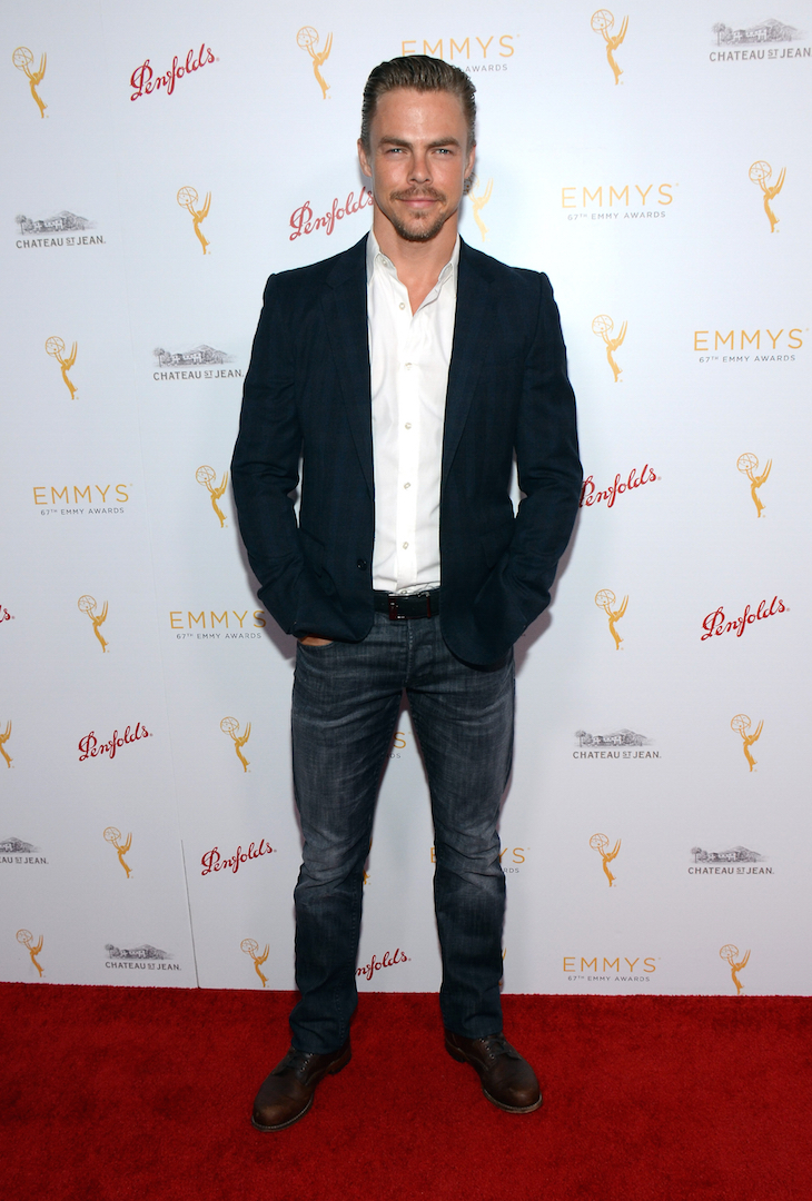 Derek Hough arrives at the Television Academy's 67th Primetime Emmy Choreographers Nominee Reception at the Montage Beverly Hills on Sunday, Aug. 30, 2015 in Beverly Hills, Calif. (Photo by Tonya Wise/Invision for the Television Academy/AP Images)