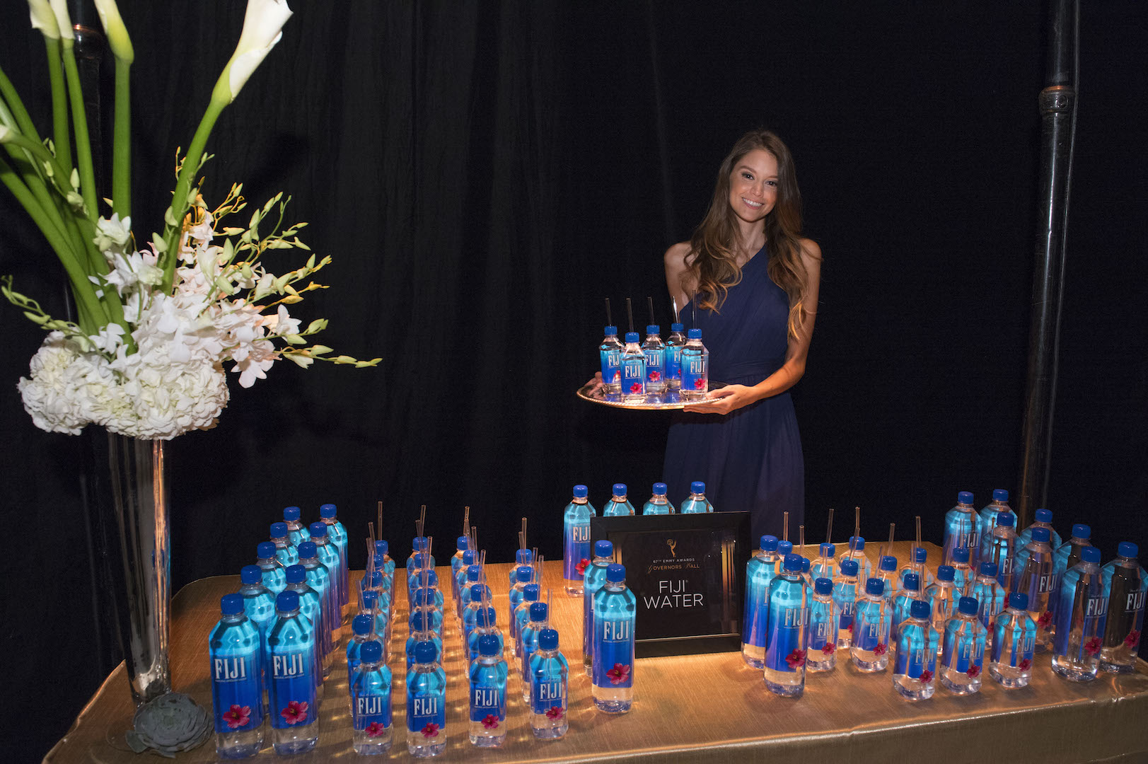 Fiji Water display seen at 67th Emmy Awards Governors Ball Preview at the Los Angeles Convention Center on Wednesday, September 9, 2015, in Los Angeles, California. (Photo by Phil McCarten/Invision for Academy of Television Arts and Sciences/AP Images)