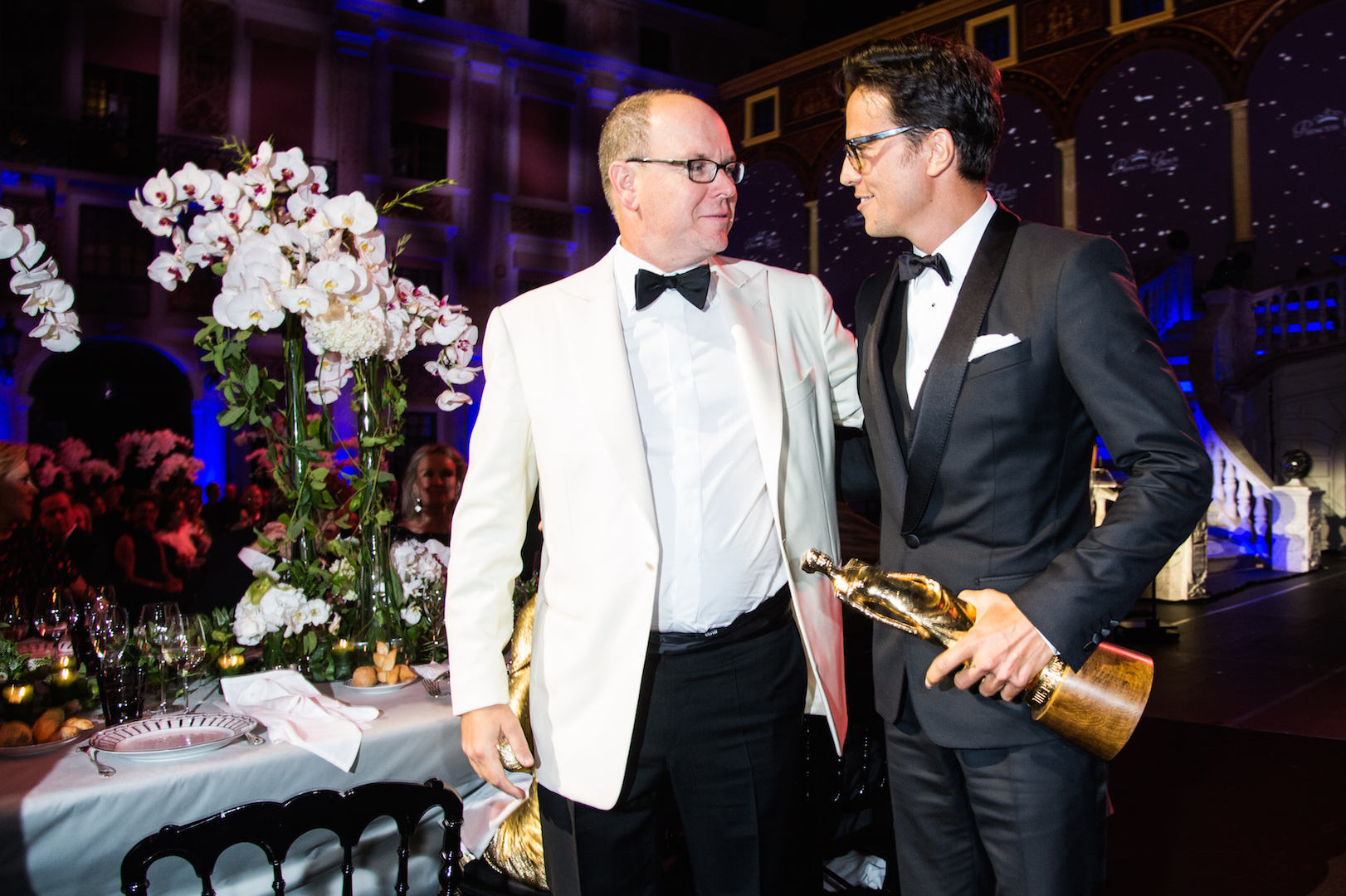 MONTE-CARLO, MONACO - SEPTEMBER 05:  His Serene Highness Prince Albert II of Monaco and Princess Grace Statue Award Recipient Cary Fukunaga attends the 2015 Princess Grace Awards Gala With Presenting Sponsor Christian Dior Couture at Monaco Palace on September 5, 2015 in Monte-Carlo, Monaco.  (Photo by Pascal Le Segretain/Getty Images for Princess Grace Foundation-USA)