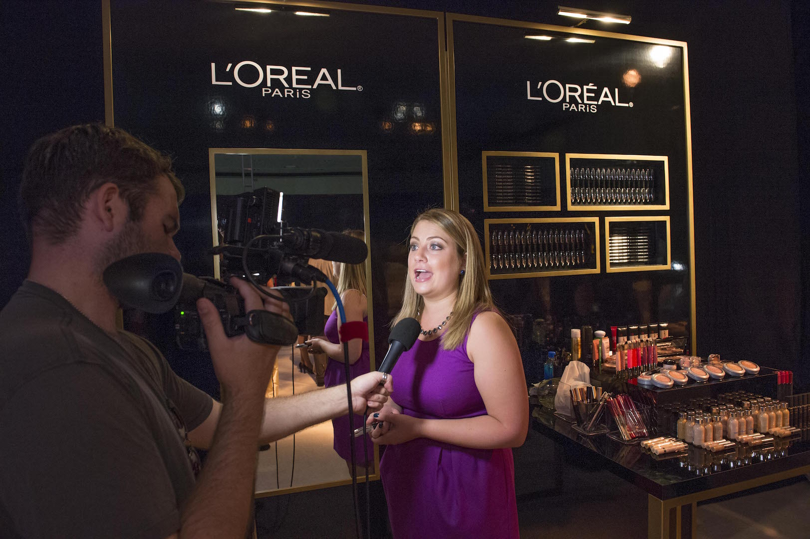 L'Oreal Paris display seen at 67th Emmy Awards Governors Ball Preview at the Los Angeles Convention Center on Wednesday, September 9, 2015, in Los Angeles, California. (Photo by Phil McCarten/Invision for Academy of Television Arts and Sciences/AP Images)