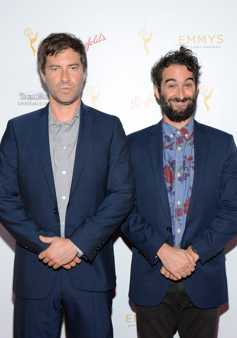 Mark Duplass and Jay Duplass arrive at the Television Academy's 67th Emmy IMPG Celebration of Excellence at the Montage Beverly Hills on Wednesday, Sept. 9, 2015 in Beverly Hills, Calif. (Photo by Tonya Wise/Invision for the Television Academy/AP Images)