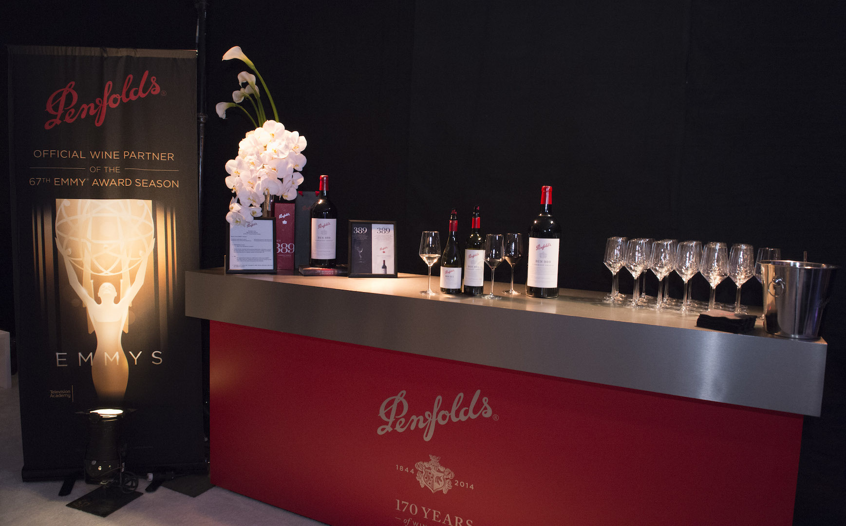 Penfolds display seen at 67th Emmy Awards Governors Ball Preview at the Los Angeles Convention Center on Wednesday, September 9, 2015, in Los Angeles, California. (Photo by Phil McCarten/Invision for Academy of Television Arts and Sciences/AP Images)