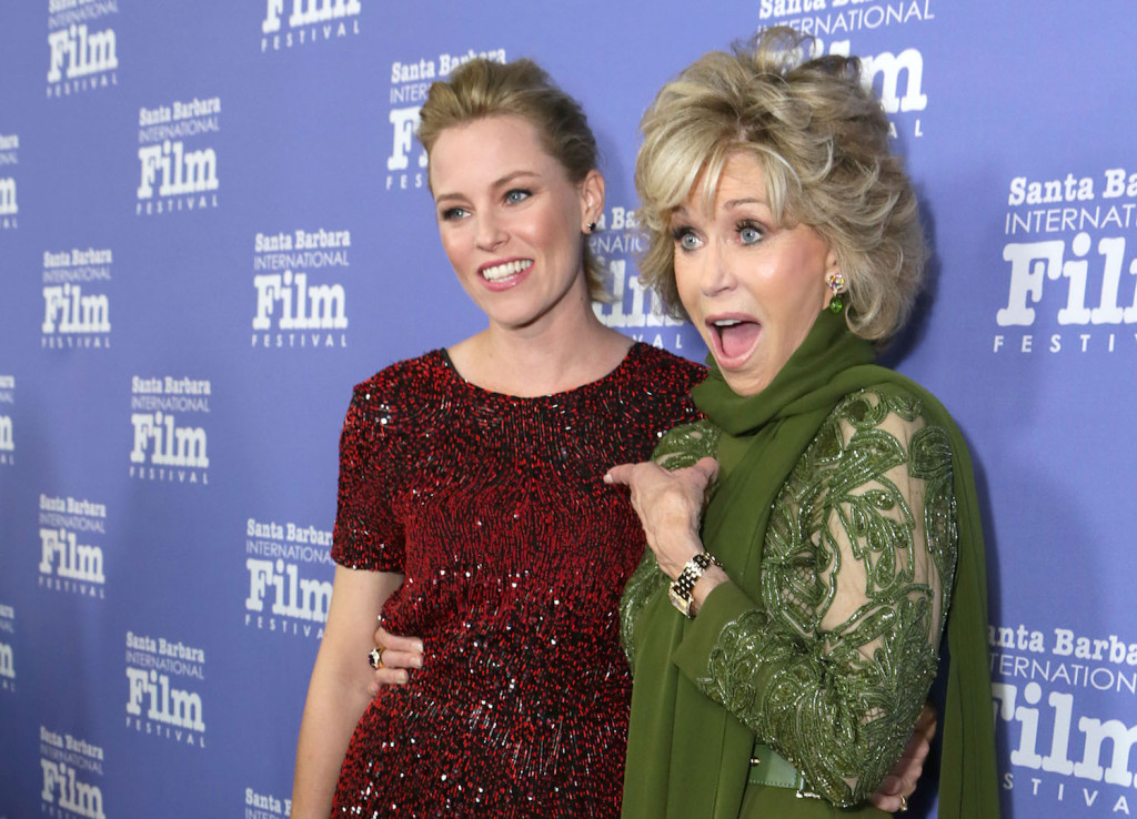 SANTA BARBARA, CA - OCTOBER 03: Elizabeth Banks and Jane Fonda attend Santa Barbara International Film Festival's 10th Annual Kirk Douglas Awards Honoring Jane Fonda at Bacara Resort and Spa on October 3, 2015 in Santa Barbara, California. (Photo by Rebecca Sapp/Getty Images for Santa Barbara International Film Festival)