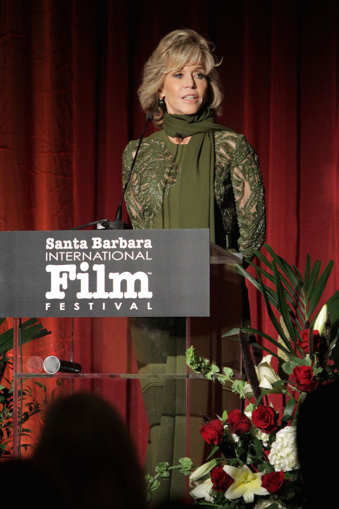 SANTA BARBARA, CA - OCTOBER 03: Jane Fonda accepts award at the Santa Barbara International Film Festival's 10th Annual Kirk Douglas Awards Honoring Jane Fonda at Bacara Resort and Spa on October 3, 2015 in Santa Barbara, California. (Photo by Rebecca Sapp/Getty Images for Santa Barbara International Film Festival)
