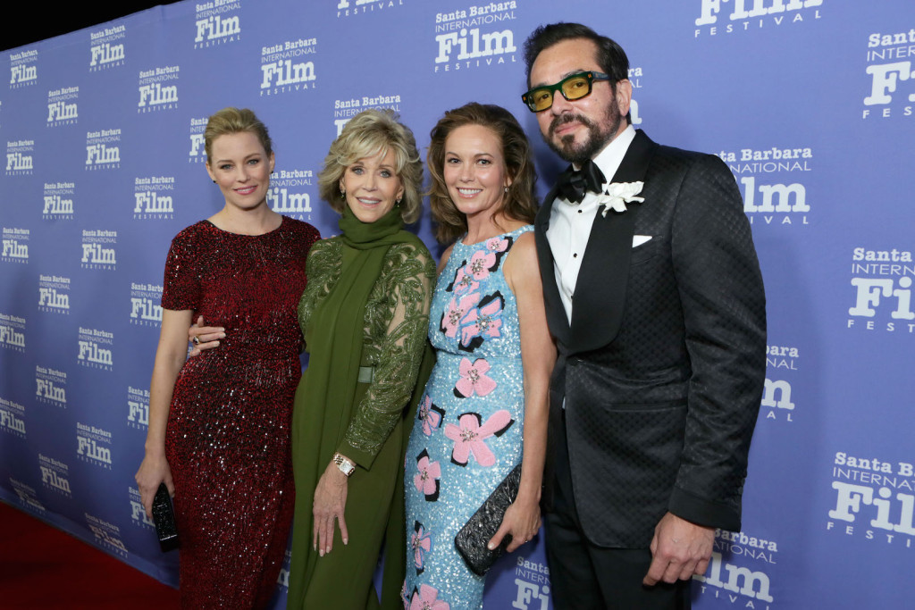 Elizabeth Banks, Jane Fonda, Diane Lane (carrying a black Nancy Gonzalez clutch) and Executive Director of the Santa Barbara International Film Festival Roger Durling attend Santa Barbara International Film Festival's 10th Annual Kirk Douglas Awards Honoring Jane Fonda at Bacara Resort and Spa on October 3, 2015 in Santa Barbara, California.  (Photo by Rebecca Sapp/Getty Images for Santa Barbara International Film Festival)