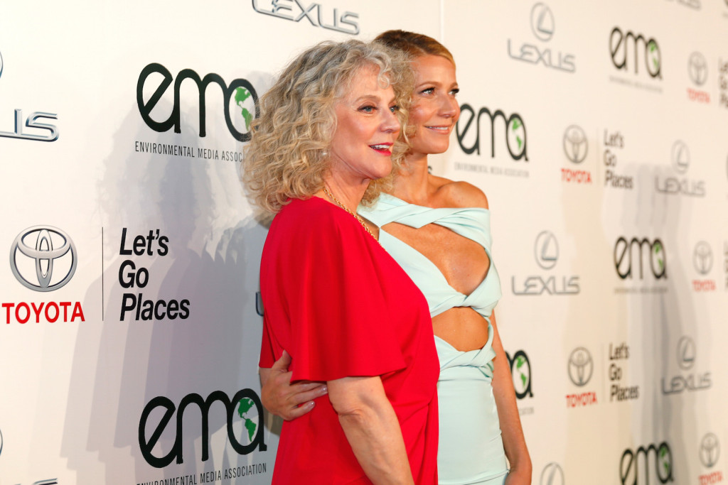 Actress Blythe Danner (L) and honoree Gwyneth Paltrow attend the 25th annual EMA Awards presented by Toyota and Lexus and hosted by the Environmental Media Association at Warner Bros. Studios on October 24, 2015 in Burbank, California. (Photo Credit: Rich Polk/Getty Images for Environmental Media Awards)
