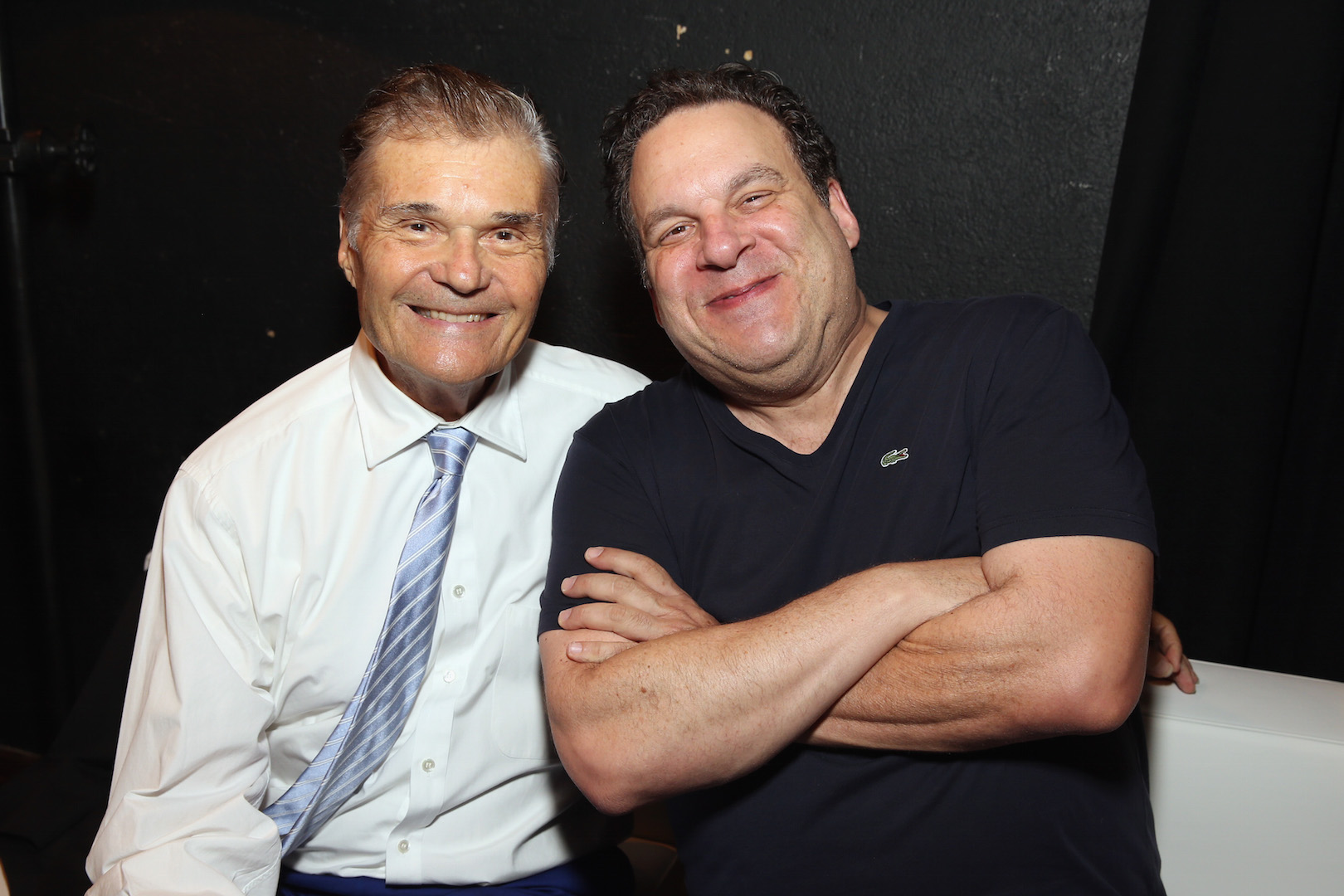 LOS ANGELES, CA - OCTOBER 10:  Host Fred Willard and comedian Jeff Garlin pose backstage during the 9th Annual Comedy Celebration, presented by the International Myeloma Foundation, at The Wilshire Ebell Theatre on October 10, 2015 in Los Angeles, California.  (Photo by Jesse Grant/Getty Images for for International Myeloma Foundation)