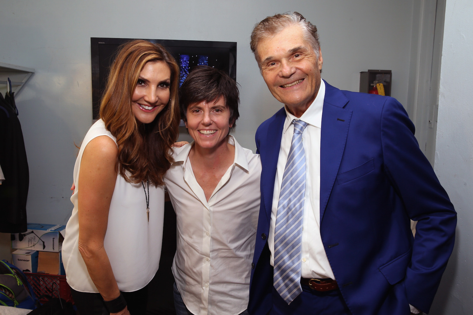 LOS ANGELES, CA - OCTOBER 10:  (L-R) Comedians Heather McDonald, Tig Notaro and host Fred Willard pose backstage during the 9th Annual Comedy Celebration, presented by the International Myeloma Foundation, at The Wilshire Ebell Theatre on October 10, 2015 in Los Angeles, California.  (Photo by Jesse Grant/Getty Images for for International Myeloma Foundation)