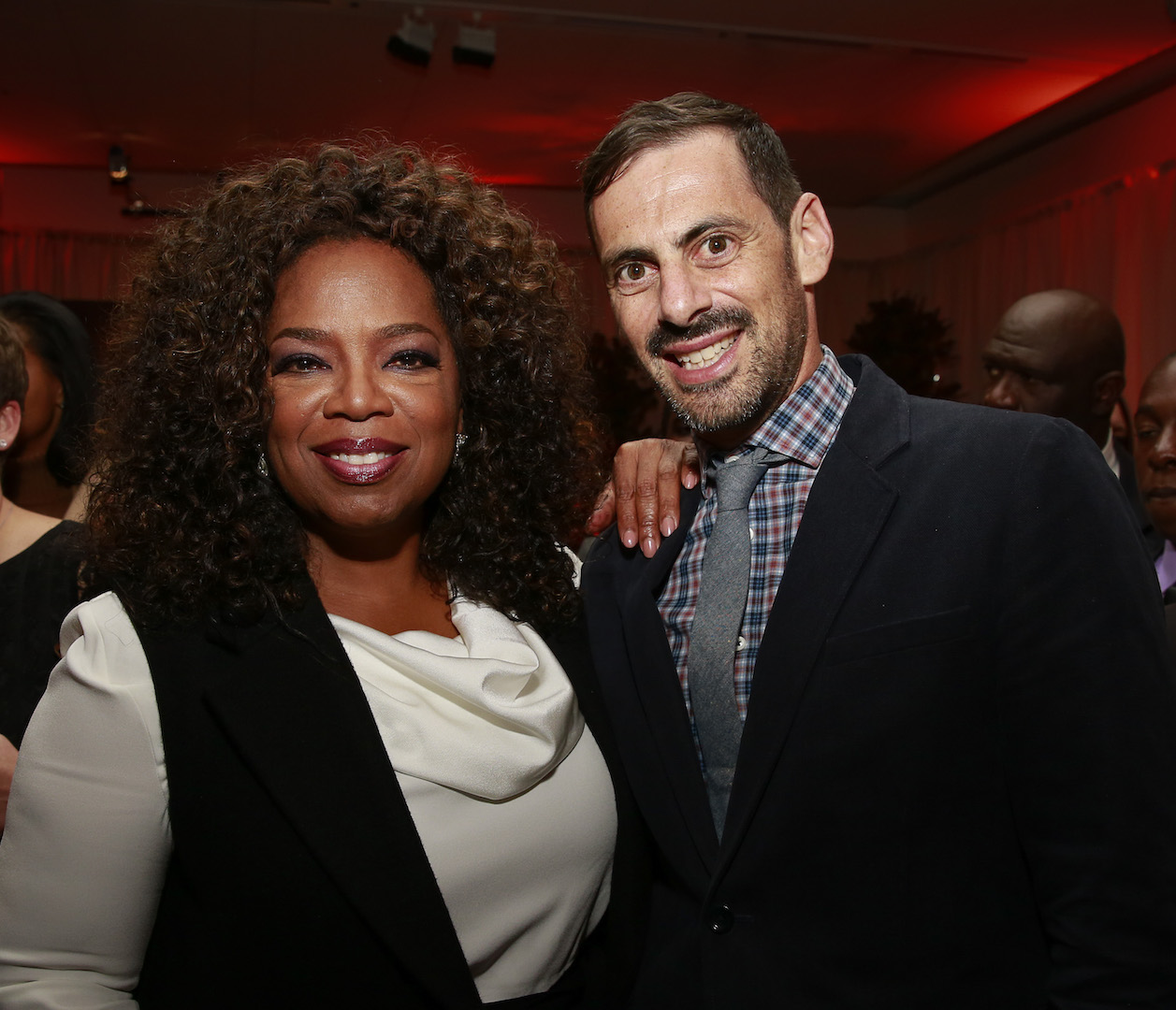 "Executive producers Oprah Winfrey and David Shadrack Smith at the OWN: Oprah Winfrey Network premiere of the landmark seven-night television event ""Belief"" at The TimesCenter on Wednesday, October 14, 2015 in New York.  (Mark VonHolden/ AP Images for Discovery Communications)"