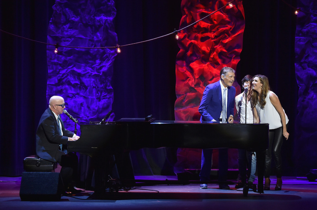 Musician Paul Shaffer performs while Fred Willard, Tig Notaro and Heather McDonald sing backup onstage during the 9th Annual Comedy Celebration, presented by the International Myeloma Foundation, at The Wilshire Ebell Theatre on October 10, 2015 in Los Angeles, California. (Photo by Kevin Winter/Getty Images for International Myeloma Foundation)