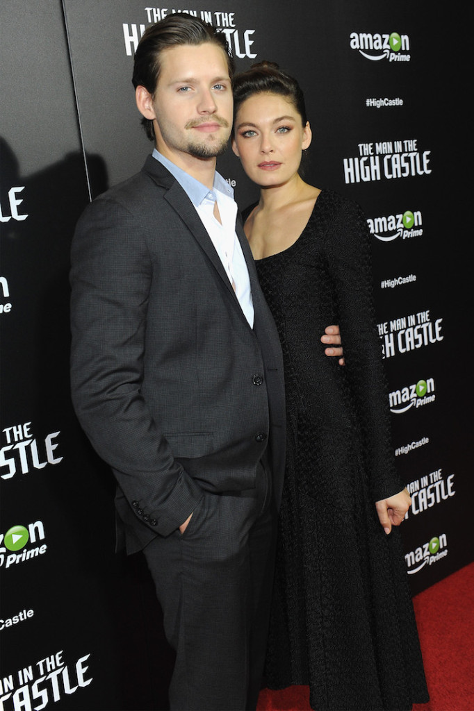 "Actors Luke Kleintank (L) and Alexa Davalos attend the New York premiere of Amazon Original's ""Man In The High Castle"" at Alice Tully Hall on November 2, 2015 in New York City. (Photo by Brad Barket/Getty Images for Amazon)"