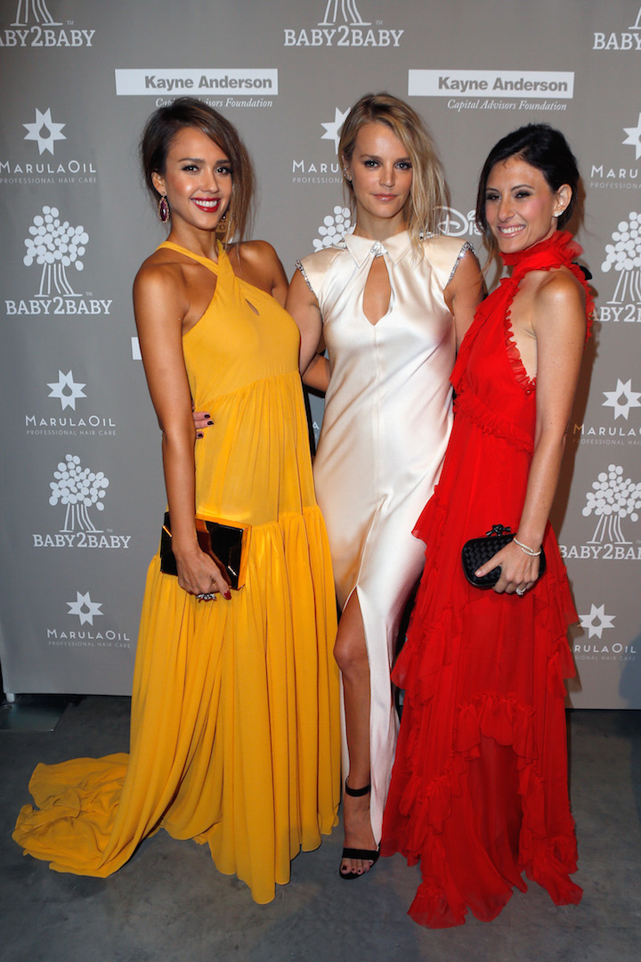 CULVER CITY, CA - NOVEMBER 14:  (L-R) Actress Jessica Alba, and Baby2Baby Co-Presidents Kelly Sawyer Patricof and Norah Weinsten attend the 2015 Baby2Baby Gala presented by MarulaOil & Kayne Capital Advisors Foundation honoring Kerry Washington at 3LABS on November 14, 2015 in Culver City, California.  (Photo by Jeff Vespa/Getty Images for Baby2Baby)