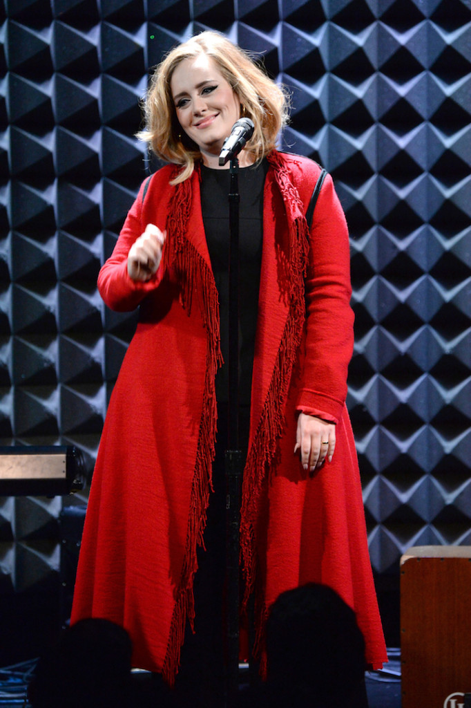NEW YORK, NY - NOVEMBER 20: (Exclusive Coverage) Adele performs onstage during iHeartRadio presents Adele's album premiere live at Joe's Pub on November 20, 2015 in New York City. (Photo by Kevin Mazur/Getty Images for iHeartRadio)