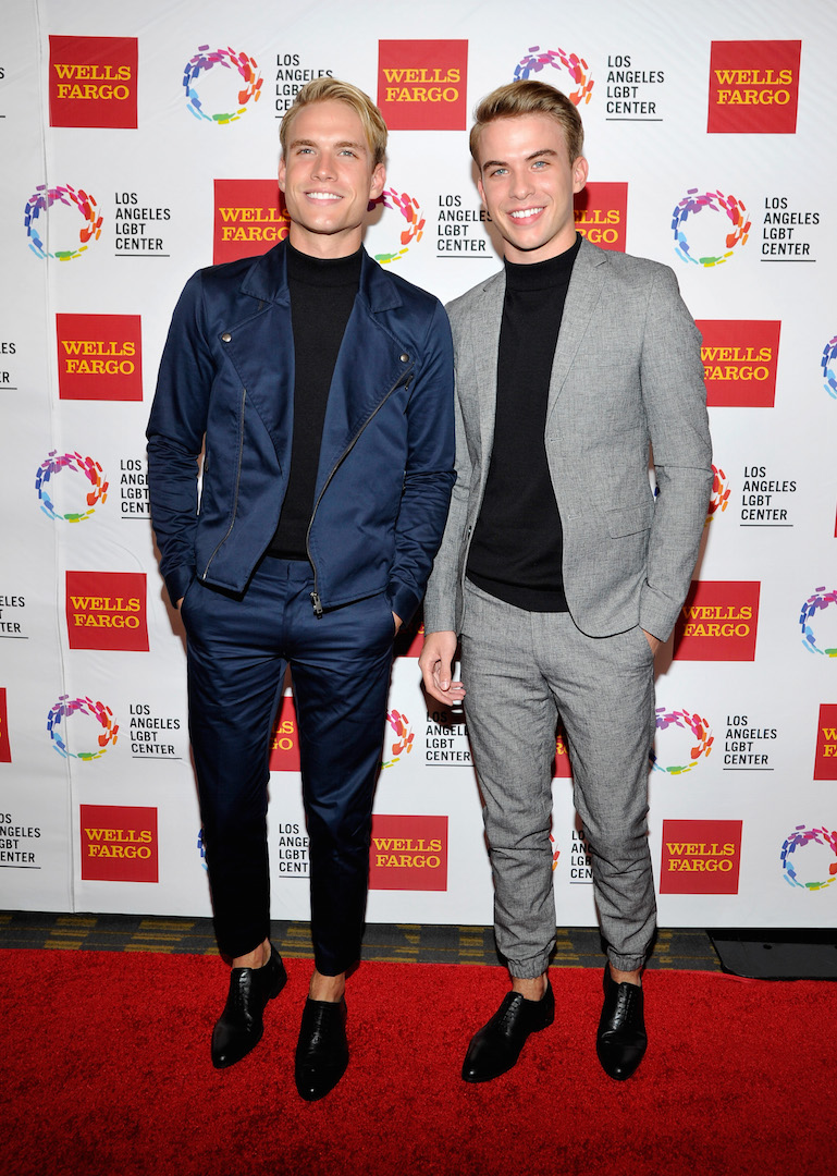 CENTURY CITY, CA - NOVEMBER 07:  Actors Austin Rhodes (L) and Aaron Rhodes arrive at the Los Angeles LGBT Center 46th Anniversary Gala Vanguard Awards at the Hyatt Regency Century Plaza on November 7, 2015 in Century City, California.  (Photo by John Sciulli/Getty Images for Los Angeles LGBT Center)