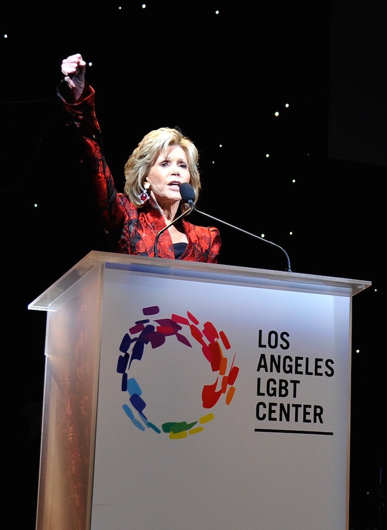 CENTURY CITY, CA - NOVEMBER 07:  Honoree Jane Fonda speaks onstage at the Los Angeles LGBT Center 46th Anniversary Gala Vanguard Awards at the Hyatt Regency Century Plaza on November 7, 2015 in Century City, California.  (Photo by John Sciulli/Getty Images for Los Angeles LGBT Center)