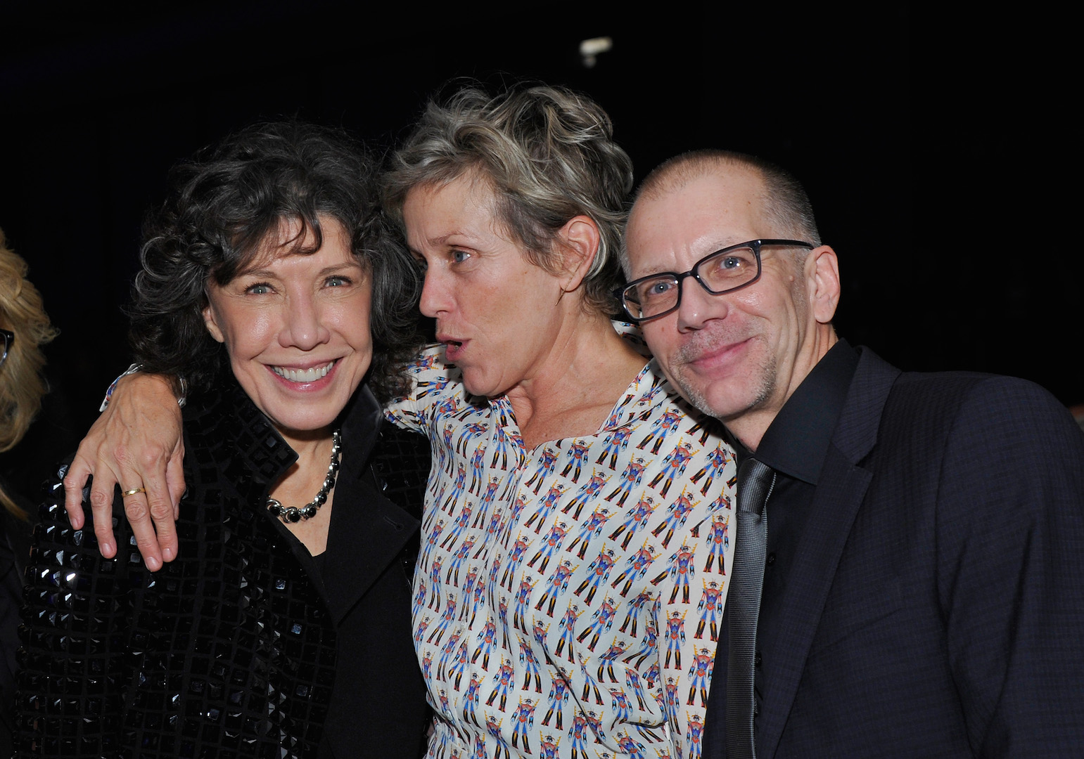 CENTURY CITY, CA - NOVEMBER 07: (L-R) Actress Lily Tomlin, actress Frances McDormand and honoree  Ron Nyswaner attend the Los Angeles LGBT Center 46th Anniversary Gala Vanguard Awards at the Hyatt Regency Century Plaza on November 7, 2015 in Century City, California.  (Photo by John Sciulli/Getty Images for Los Angeles LGBT Center)