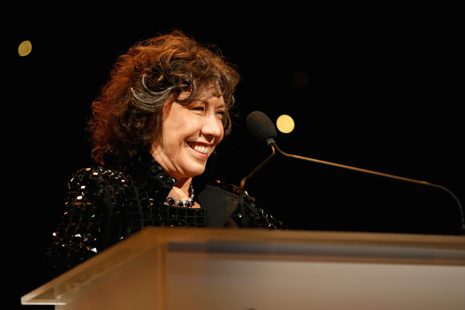 CENTURY CITY, CA - NOVEMBER 07:  Actress Lily Tomlin speaks onstage at the Los Angeles LGBT Center 46th Anniversary Gala Vanguard Awards at the Hyatt Regency Century Plaza on November 7, 2015 in Century City, California.  (Photo by Joe Scarnici/Getty Images for Los Angeles LGBT Center)