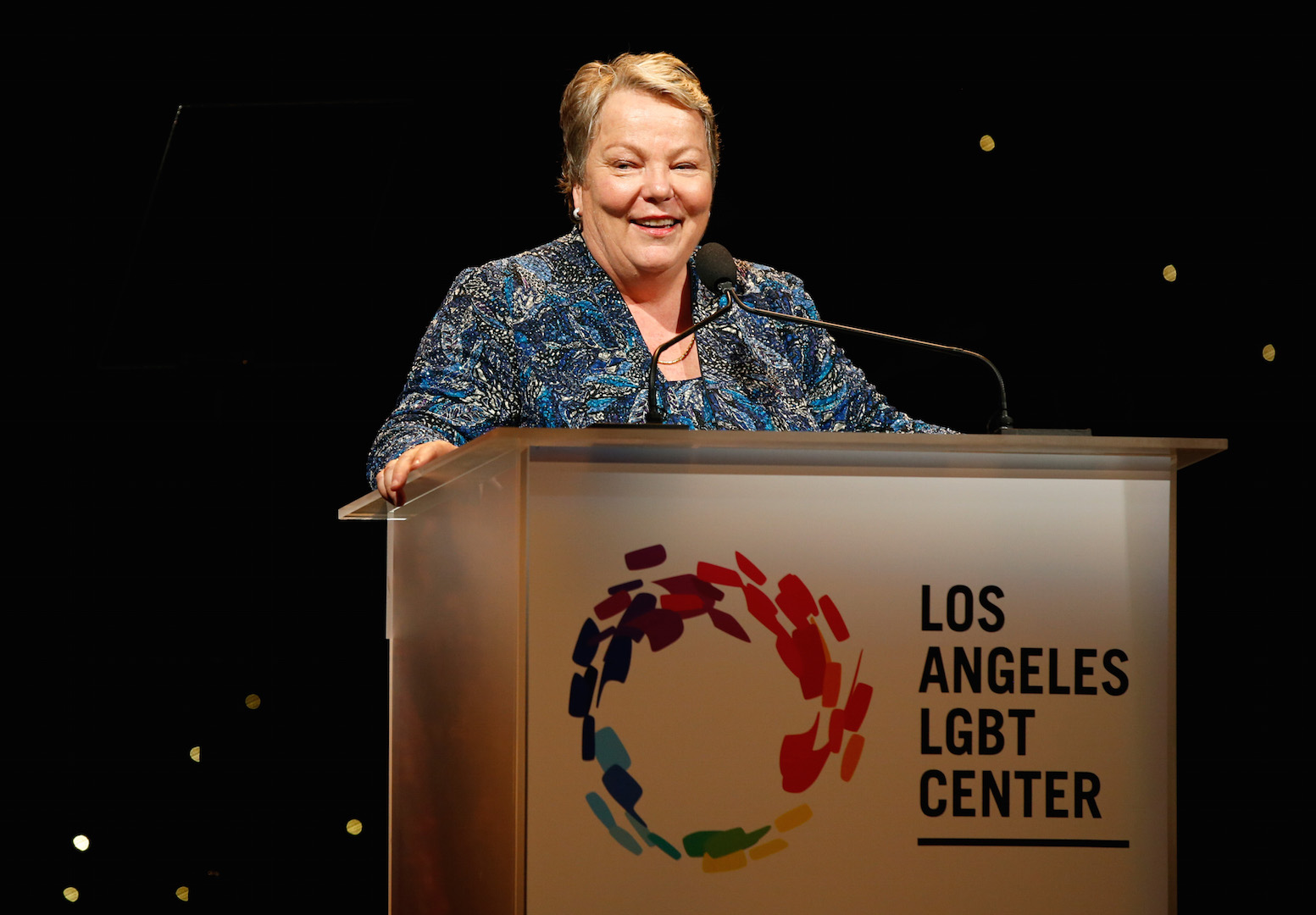 CENTURY CITY, CA - NOVEMBER 07:  Los Angeles LGBT Center CEO Lorri L. Jean speaks onstage at the Los Angeles LGBT Center 46th Anniversary Gala Vanguard Awards at the Hyatt Regency Century Plaza on November 7, 2015 in Century City, California.  (Photo by Joe Scarnici/Getty Images for Los Angeles LGBT Center)