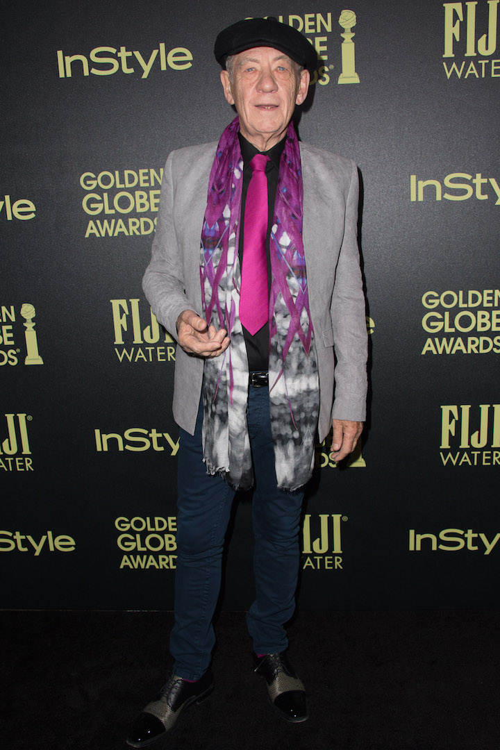 Sir Ian McKellen attends a party for the announcement of Corinne Foxx as Miss Golden Globe 2016 for the 73rd Annual Golden Globe Awards set to air live on NBC on January 10, 2016.