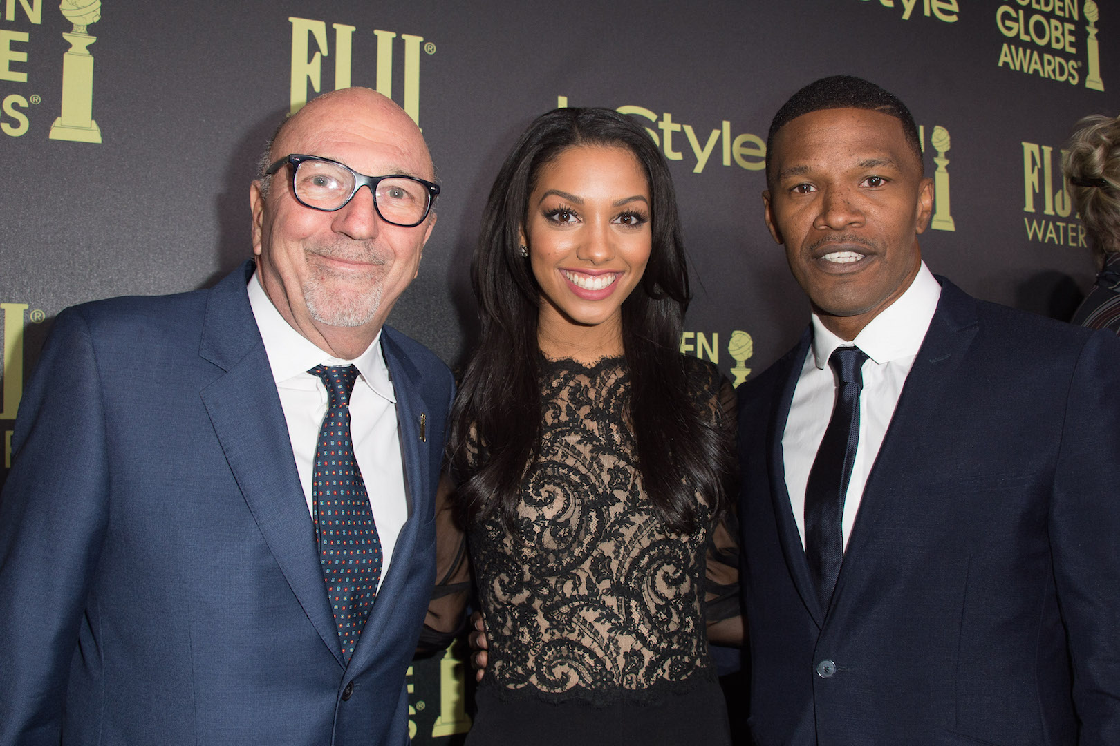 HFPA President Lorenzo Soria, Corinne Foxx, Miss Golden Globe 2016, and Jamie Foxx attend a party for the announcement of Corinne Foxx as Miss Golden Globe 2016 for the 73rd Annual Golden Globe Awards set to air live on NBC on January 10, 2016.