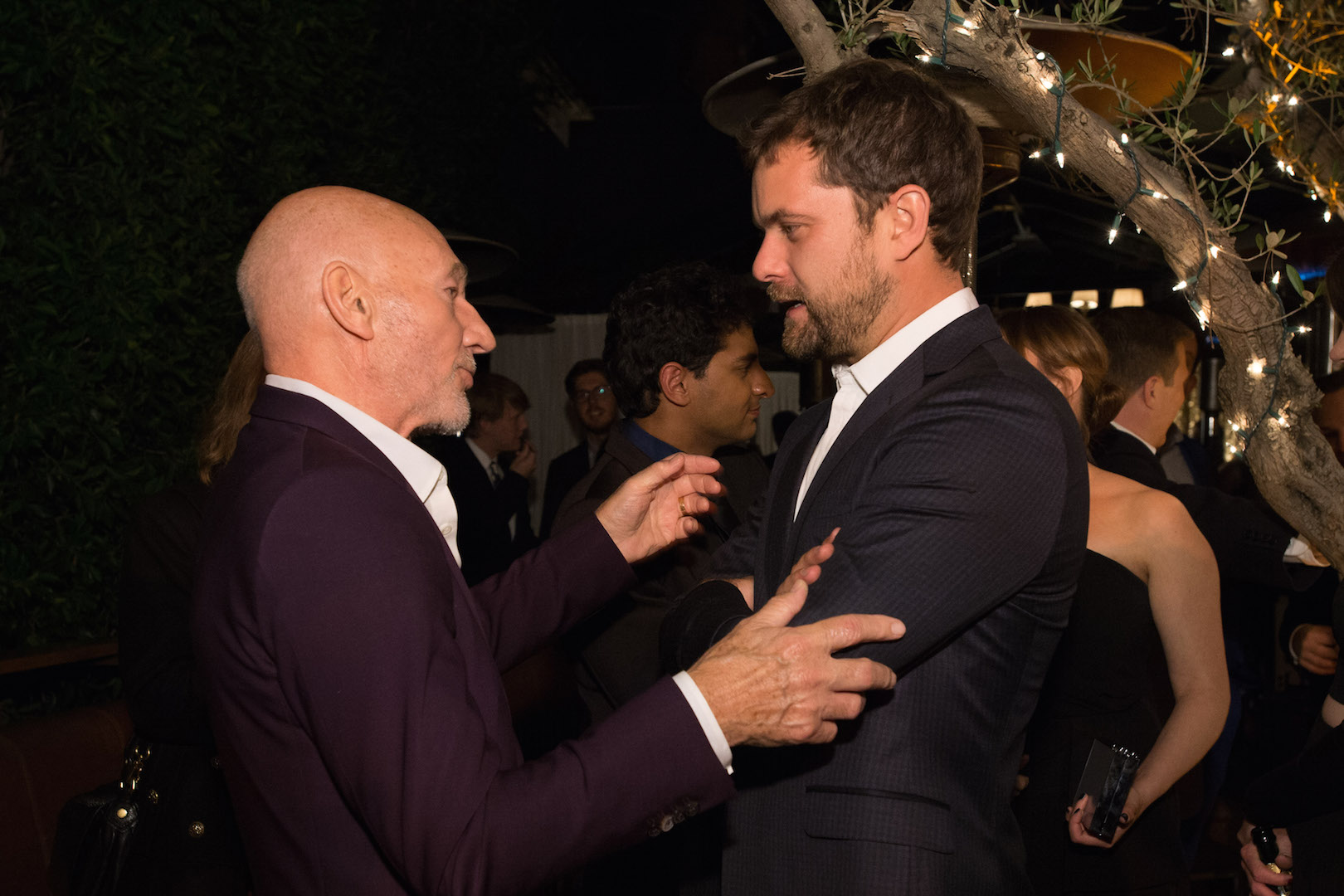 Patrick Stewart and Joshua Jackson attend a party for the announcement of Corinne Foxx as Miss Golden Globe 2016 for the 73rd Annual Golden Globe Awards set to air live on NBC on January 10, 2016.  President Lorenzo Soria made the announcement on November 17, 2015 from Ysabel Restaurant in West Hollywood.