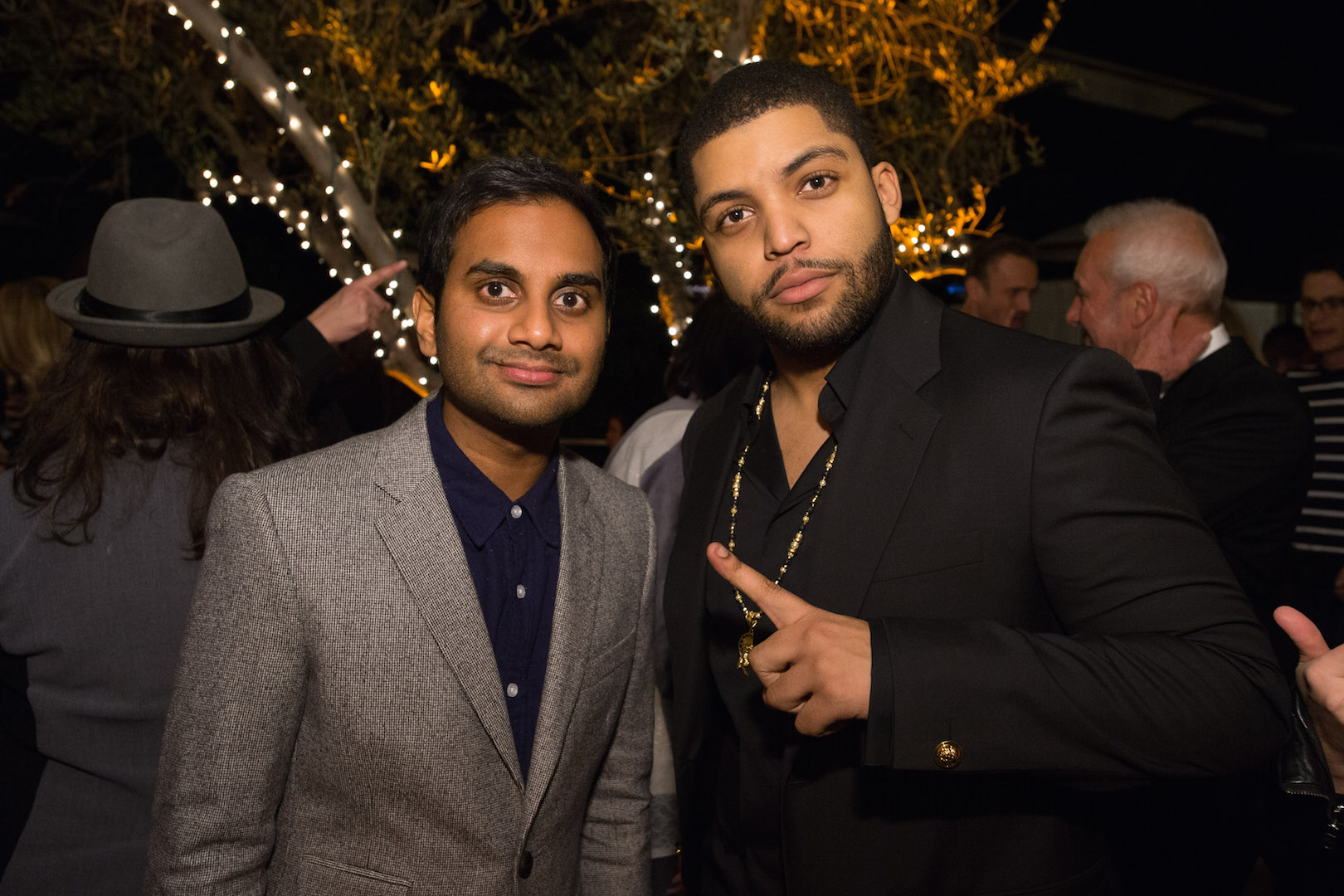 Aziz Ansari and O'She Jackson Jr. attend a party for the announcement of Corinne Foxx as Miss Golden Globe 2016 for the 73rd Annual Golden Globe Awards set to air live on NBC on January 10, 2016.  President Lorenzo Soria made the announcement on November 17, 2015 from Ysabel Restaurant in West Hollywood.