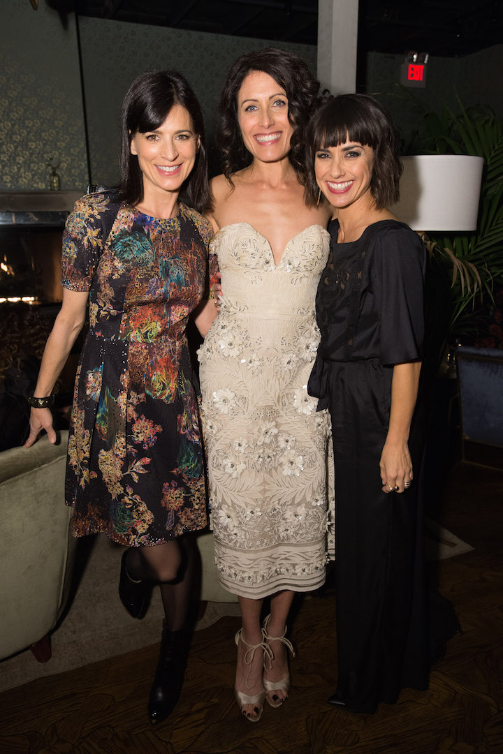 Perrey Reeves, Lisa Edelstein and Constance Zimmer attend a party for the announcement of Corinne Foxx as Miss Golden Globe 2016 for the 73rd Annual Golden Globe Awards set to air live on NBC on January 10, 2016.  President Lorenzo Soria made the announcement on November 17, 2015 from Ysabel Restaurant in West Hollywood.