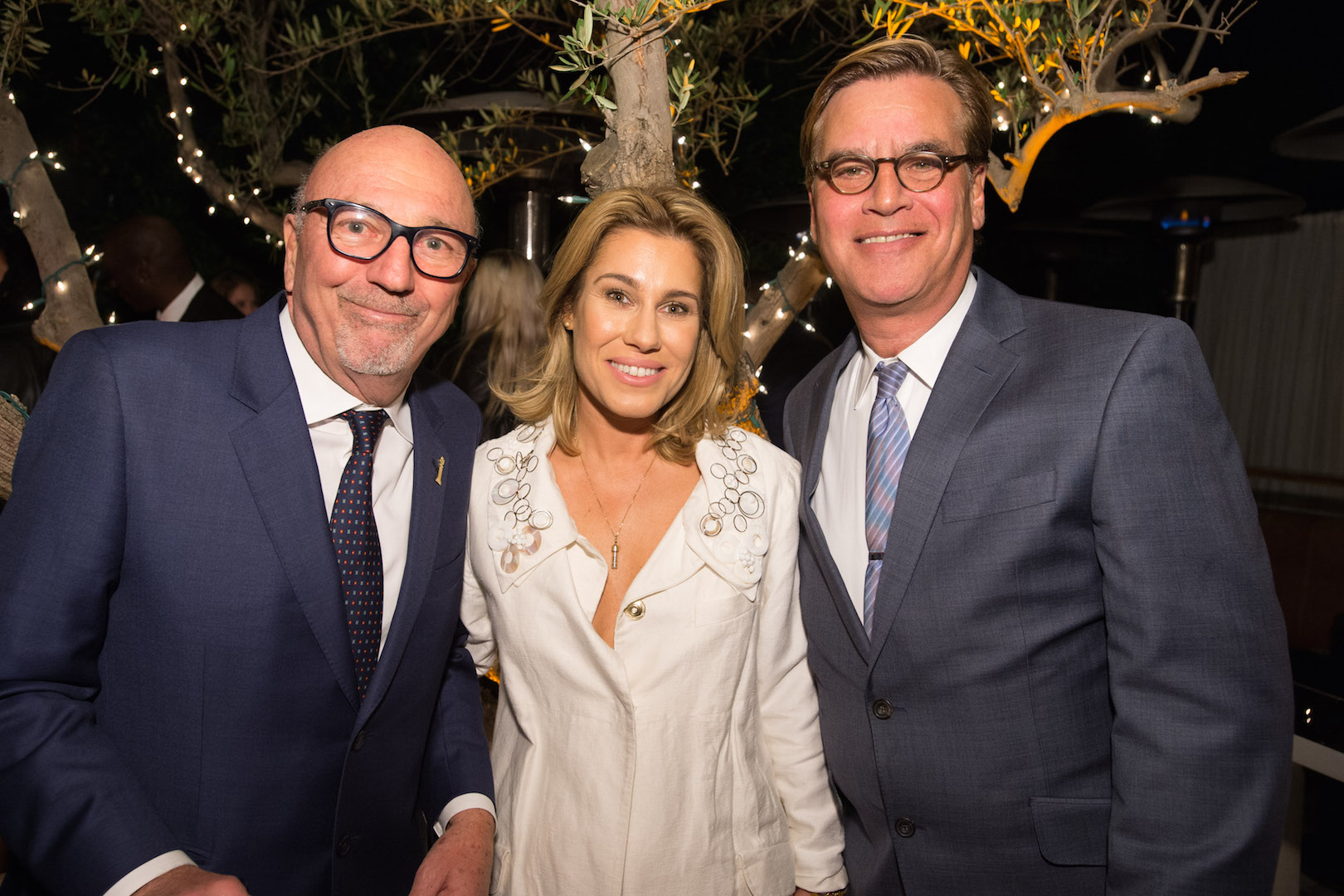 HFPA President Lorenzo Soria, Lilla Soria Pausits and Aaron Sorkin attend a party for the announcement of Corinne Foxx as Miss Golden Globe 2016 for the 73rd Annual Golden Globe Awards set to air live on NBC on January 10, 2016.  President Lorenzo Soria made the announcement on November 17, 2015 from Ysabel Restaurant in West Hollywood.