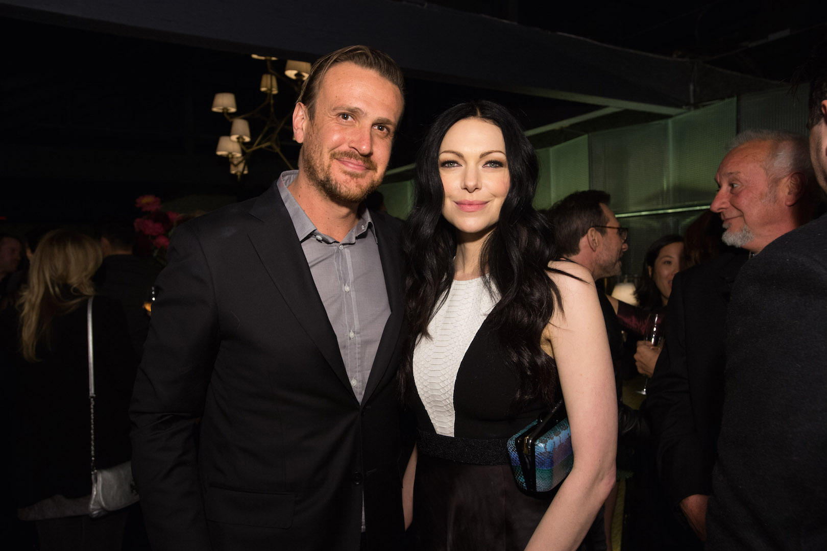 Jason Segel and Laura Prepon attend a party for the announcement of Corinne Foxx as Miss Golden Globe 2016 for the 73rd Annual Golden Globe Awards set to air live on NBC on January 10, 2016.  President Lorenzo Soria made the announcement on November 17, 2015 from Ysabel Restaurant in West Hollywood.