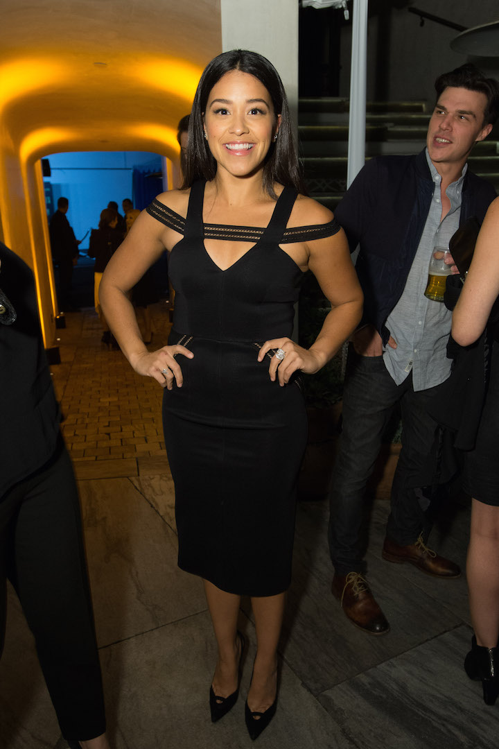 Gina Rodriguez attends a party for the announcement of Corinne Foxx as Miss Golden Globe 2016 for the 73rd Annual Golden Globe Awards set to air live on NBC on January 10, 2016.  President Lorenzo Soria made the announcement on November 17, 2015 from Ysabel Restaurant in West Hollywood.
