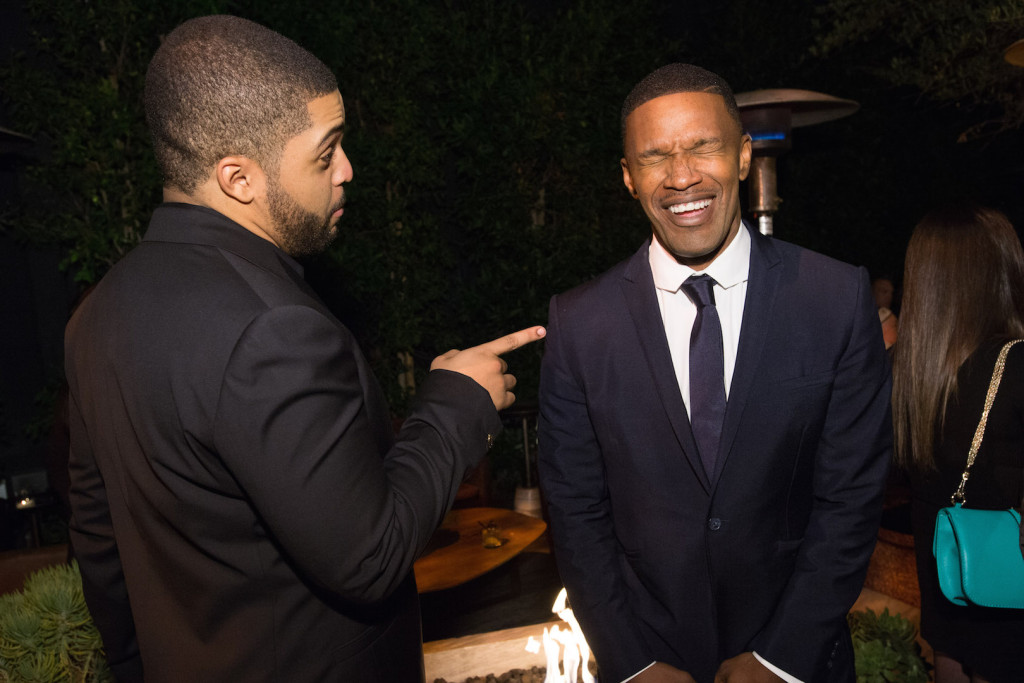 O'Shea Jackson Jr. and Jamie Foxx attend a party for the announcement of Corinne Foxx as Miss Golden Globe 2016 for the 73rd Annual Golden Globe Awards set to air live on NBC on January 10, 2016. President Lorenzo Soria made the announcement on November 17, 2015 from Ysabel Restaurant in West Hollywood.
