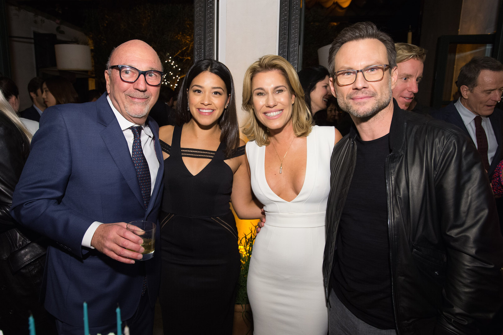 HFPA  President Lorenzo Soria, Gina Rodriguez, Lilla Soria Pausits and Christian Slater attend a party for the announcement of Corinne Foxx as Miss Golden Globe 2016 for the 73rd Annual Golden Globe Awards set to air live on NBC on January 10, 2016.  President Lorenzo Soria made the announcement on November 17, 2015 from Ysabel Restaurant in West Hollywood.