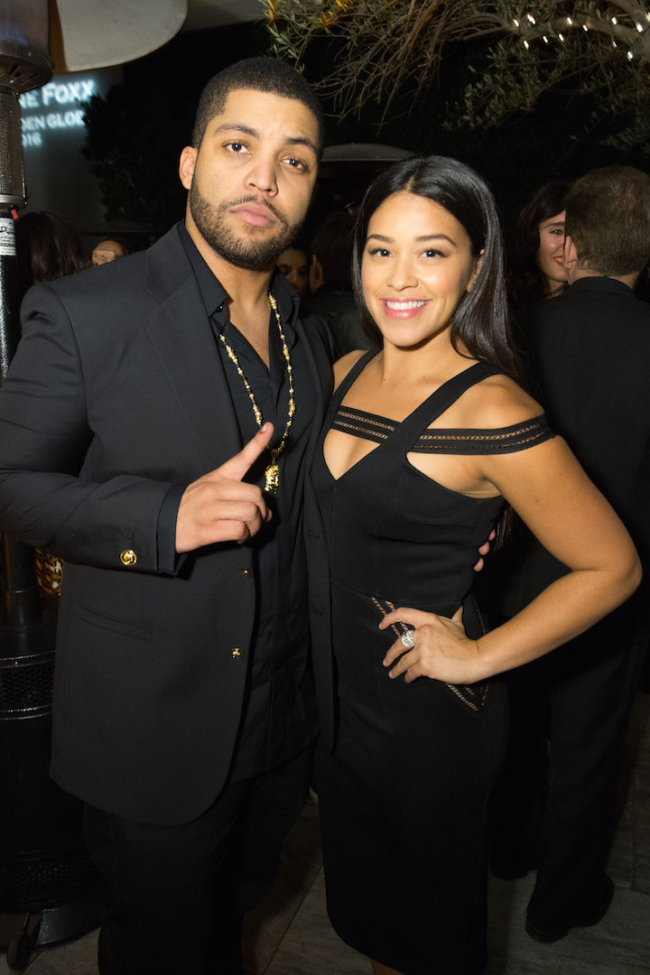 O'Shea Jackson Jr. and Gina Rodriguez attend a party for the announcement of Corinne Foxx as Miss Golden Globe 2016 for the 73rd Annual Golden Globe Awards set to air live on NBC on January 10, 2016.  President Lorenzo Soria made the announcement on November 17, 2015 from Ysabel Restaurant in West Hollywood.