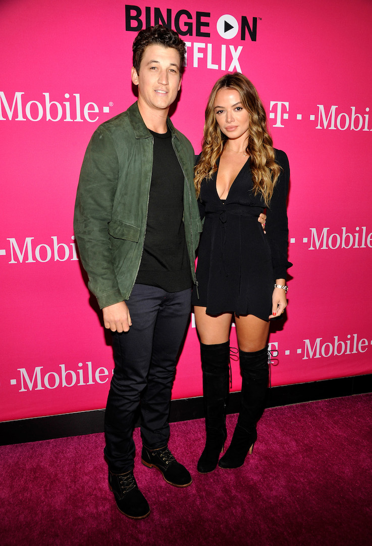 LOS ANGELES, CA - NOVEMBER 10:  Actor Miles Teller (L) and model Keleigh Sperry attend T-Mobile Un-carrier X Launch Celebration at The Shrine Auditorium on November 10, 2015 in Los Angeles, California.  (Photo by John Sciulli/Getty Images for T-Mobile)