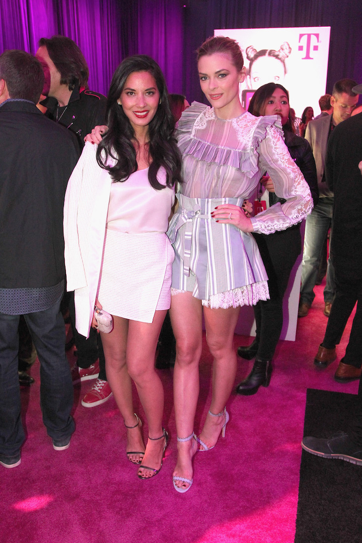 LOS ANGELES, CA - NOVEMBER 10:  Actresses Olivia Munn (L) and Jamie King attend T-Mobile Un-carrier X Launch Celebration at The Shrine Auditorium on November 10, 2015 in Los Angeles, California.  (Photo by Tommaso Boddi/Getty Images for T-Mobile)